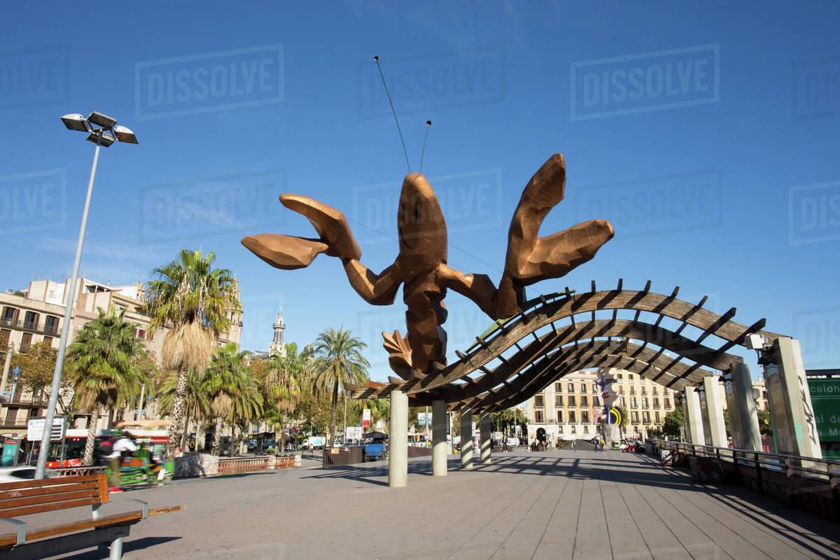 Paseo Colon in Barcelona Royalty-free stock photo