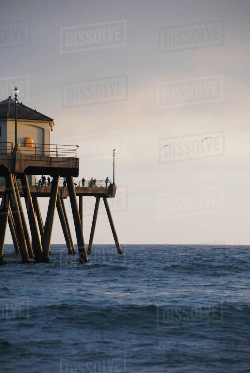 Huntington Beach Pier At Sunset Stock Photo Dissolve