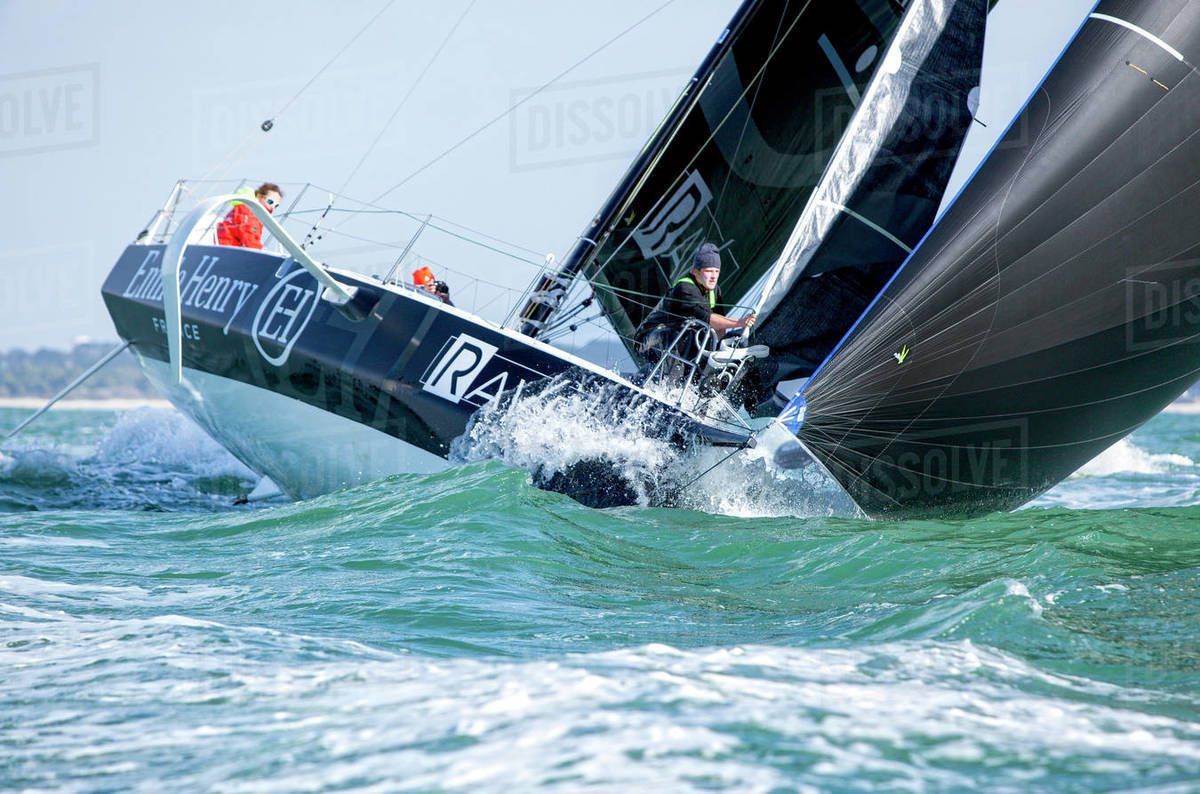Changing sails onboard a Figaro Beneteau 3 Royalty-free stock photo