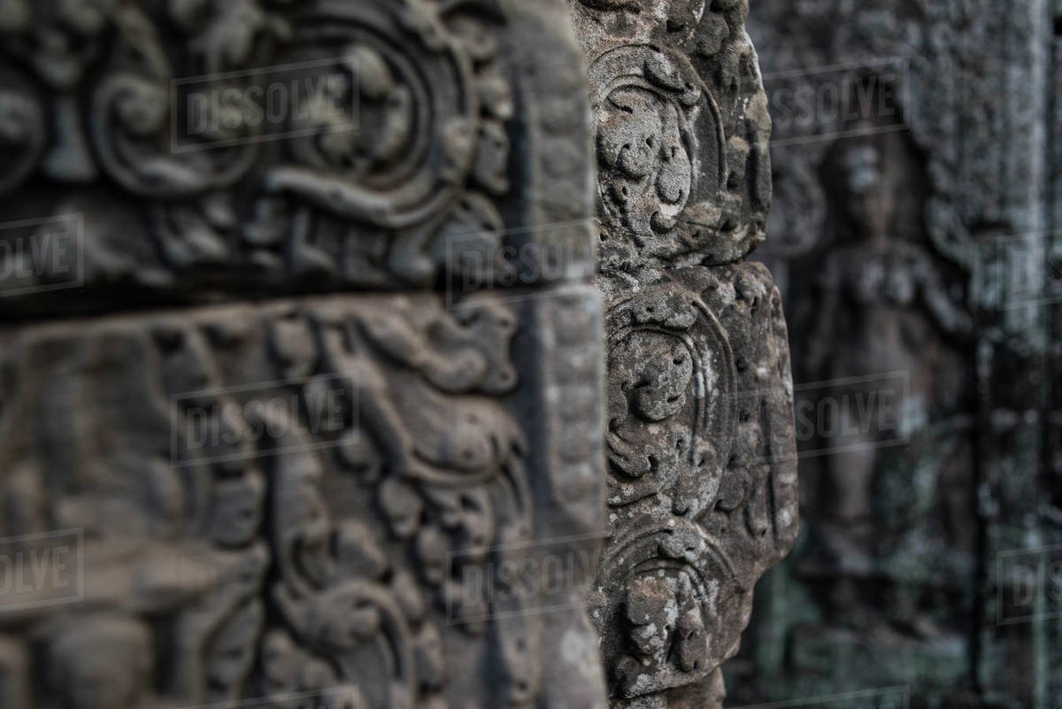 Stone carved godess at the walls of Bayon in Angkor Thom temple, Angkor Wat, Cambodia. Royalty-free stock photo