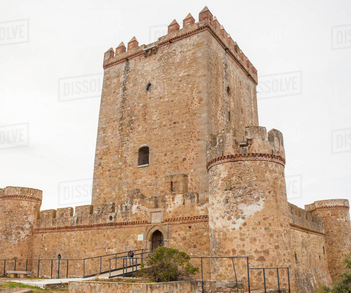 Nogales Castle, Badajoz, Spain. 15th Century defensive fortress Royalty-free stock photo