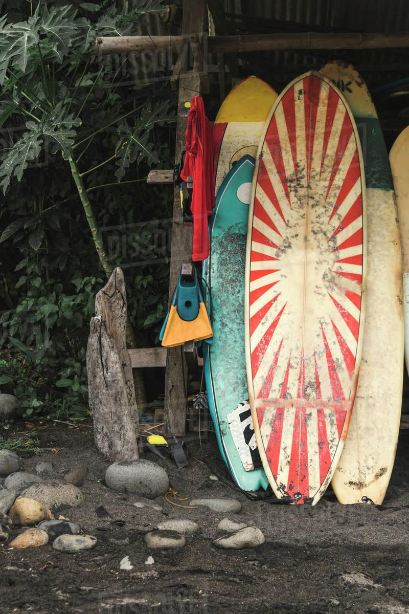 Old surfboards, Balian beach, Bali, Indonesia Royalty-free stock photo