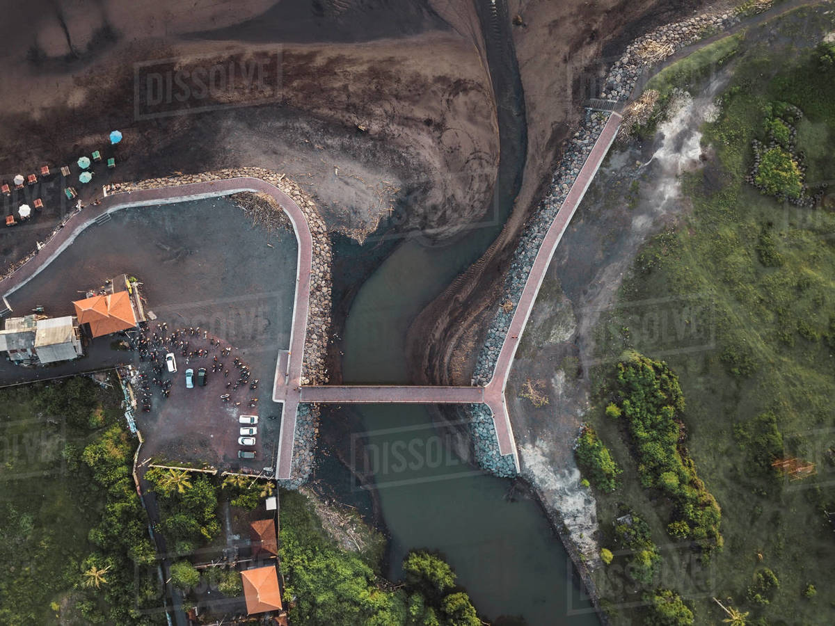 Aerial view of a bridge Royalty-free stock photo