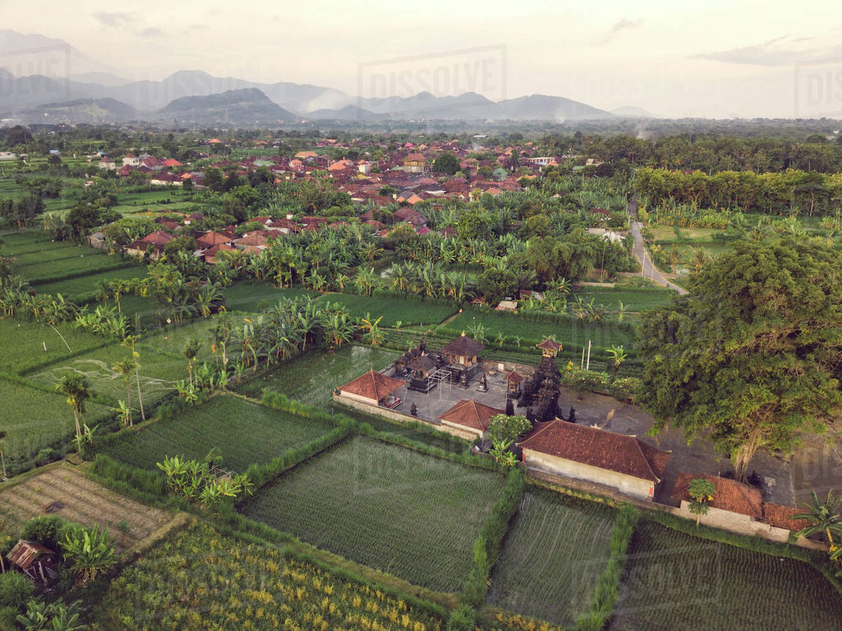 Aerial view of Balinese temple Royalty-free stock photo