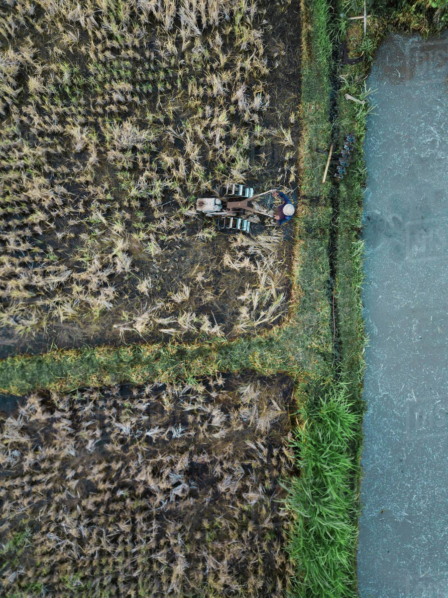 Aerial view of tractor on agricultural field Royalty-free stock photo