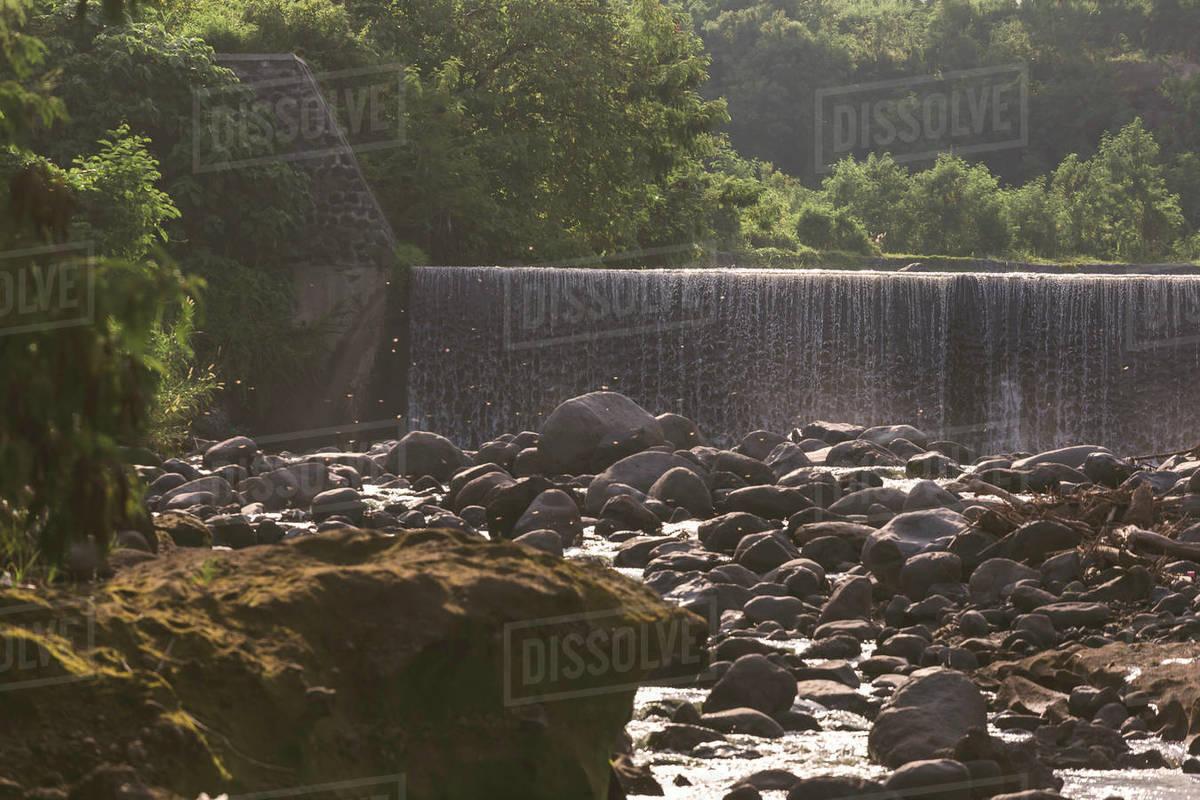 Dam at mountain river Royalty-free stock photo