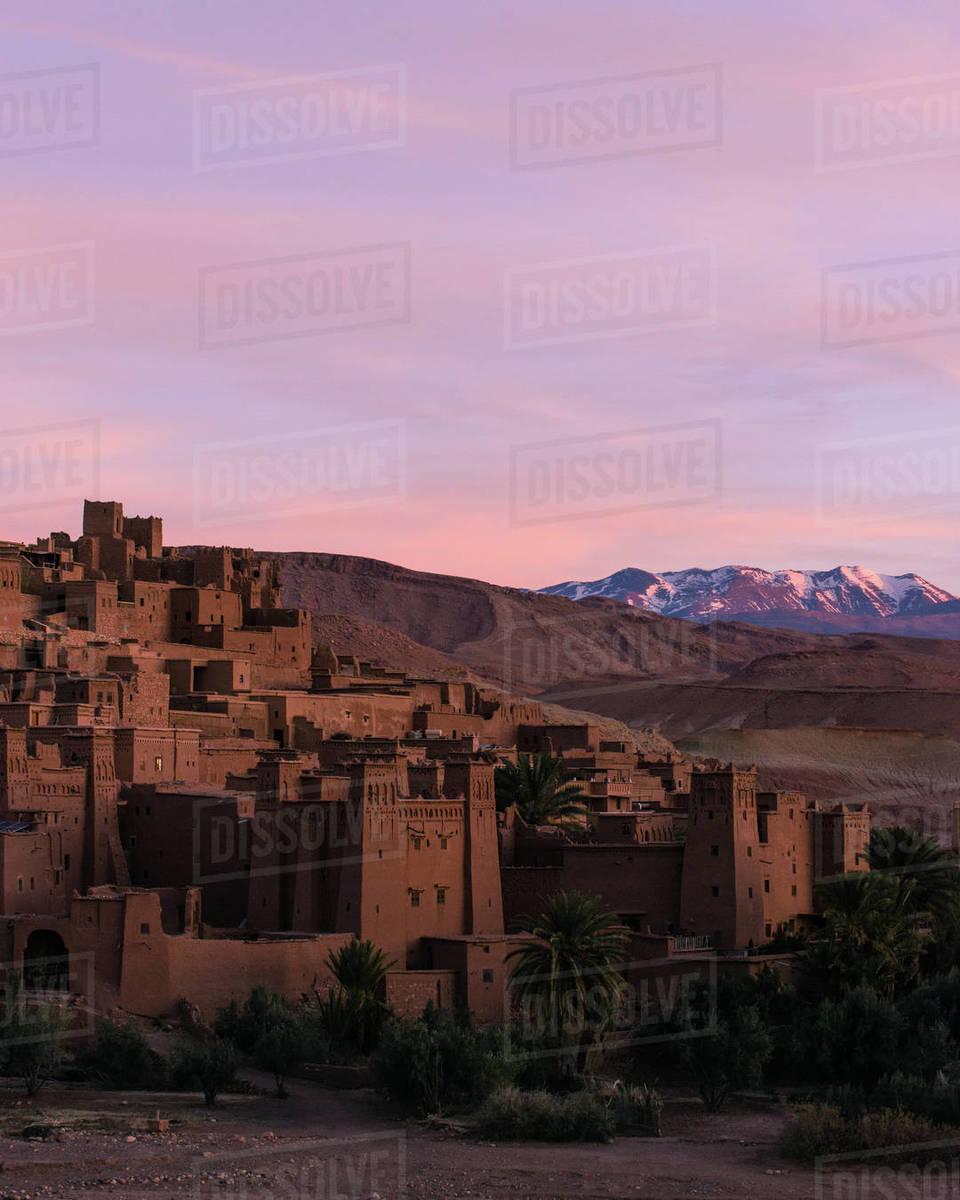 Ait benhaddou and altas mountains Royalty-free stock photo