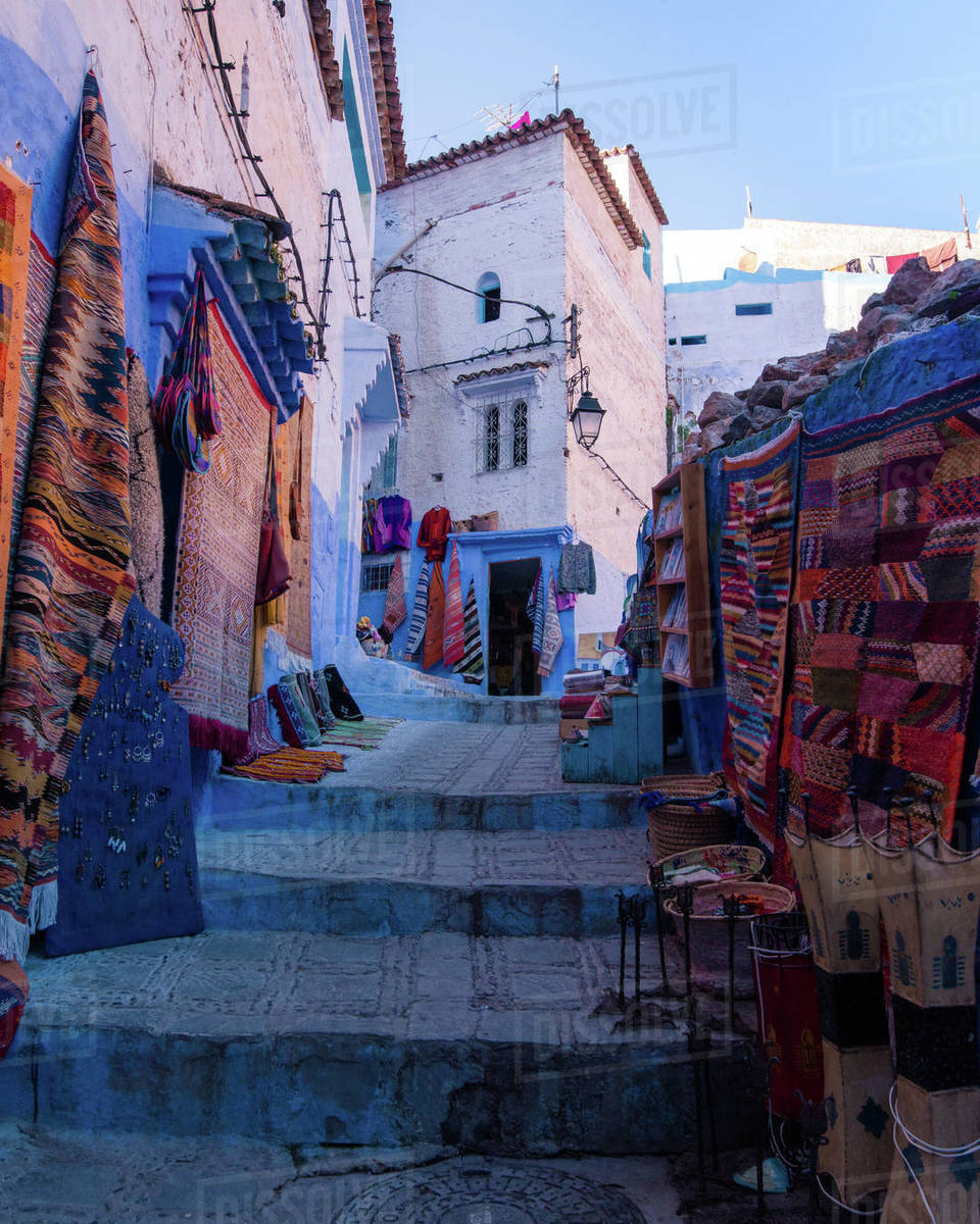 Chefchaouen rugs Royalty-free stock photo