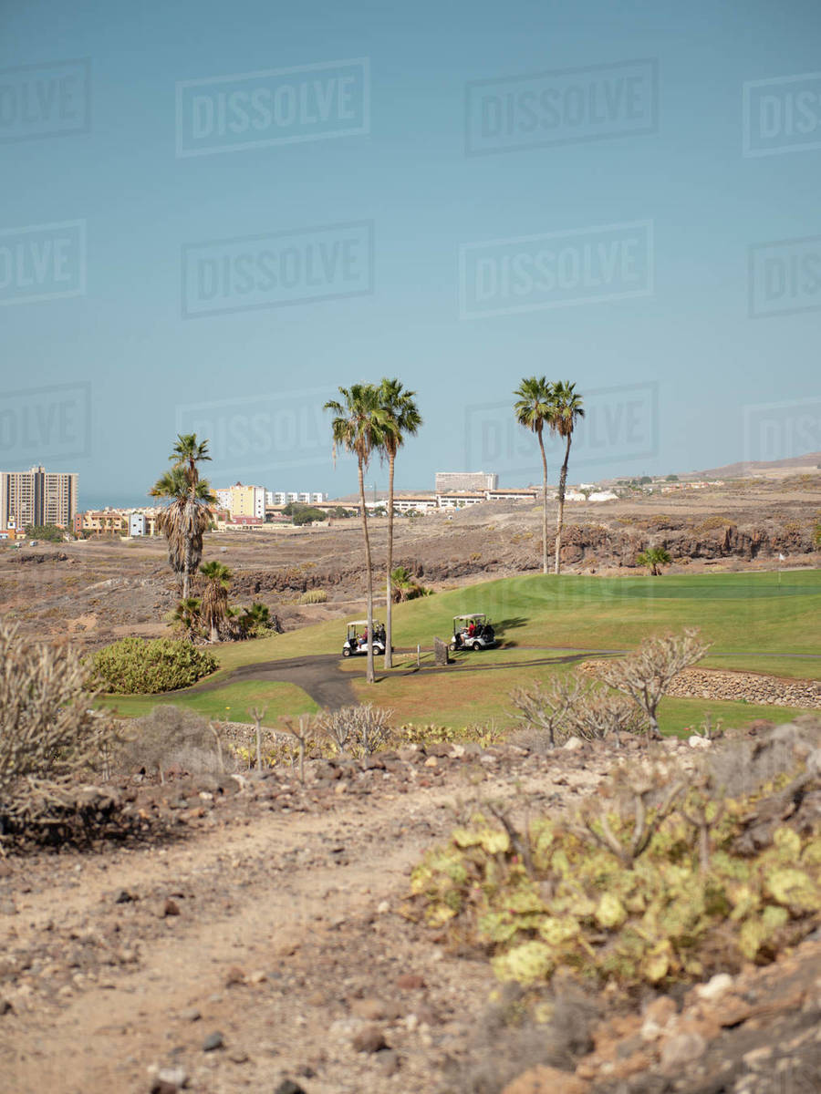 Two golf carts on the path of a golf course during sunny day Royalty-free stock photo