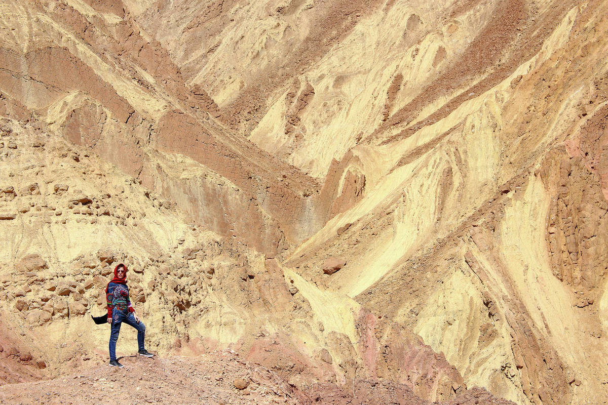 Mountains of color in Kerman. Desert of Lut. Kaluts Royalty-free stock photo