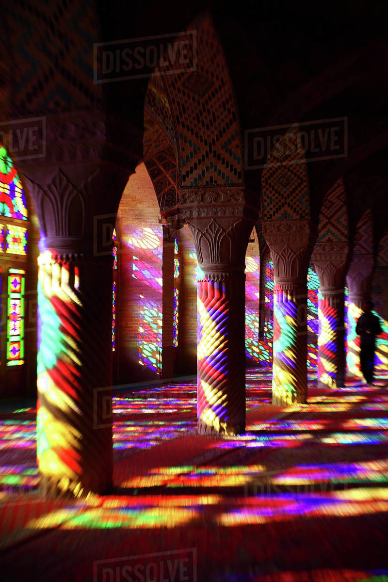 Farbenspiel, Nasir al Molk-Moschee, Shiraz, Iran Royalty-free stock photo