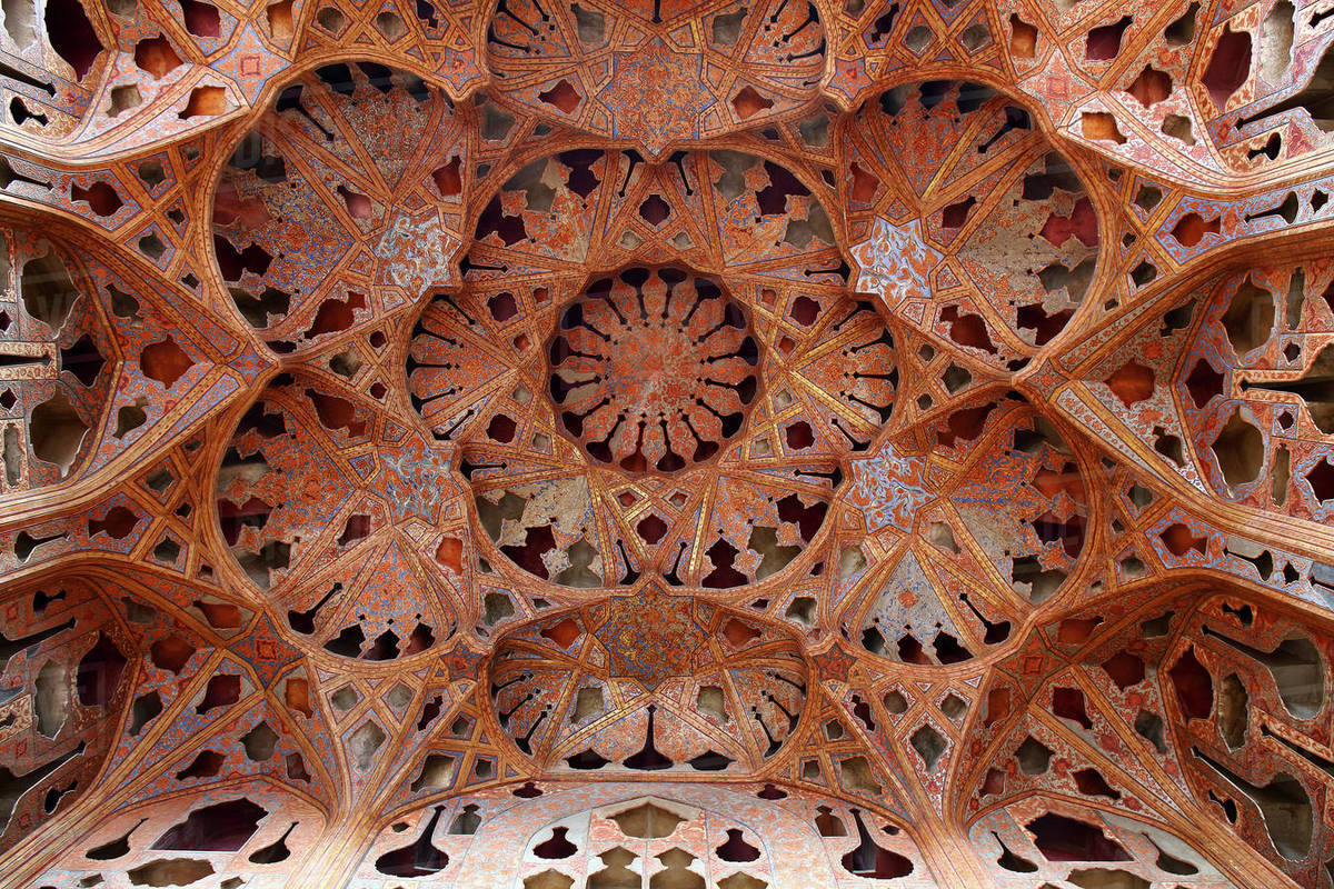 Detail of the roof of the music hall, Ali Qapu palace, Isfahan, Iran Royalty-free stock photo