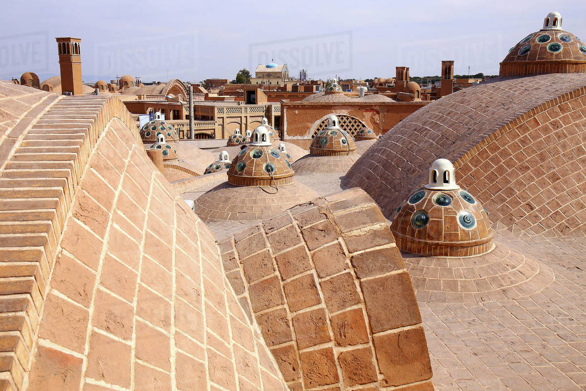 Iran Kashan, city, Hammam Sultan Mir Ahmad, (bath house), roof Royalty-free stock photo
