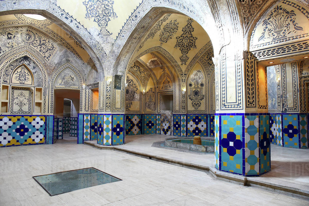Plasterworks and paintings in Sultan Amir Ahmad Bathhouse also known as Bathhouse in Kashan Qasemi, Iran Royalty-free stock photo