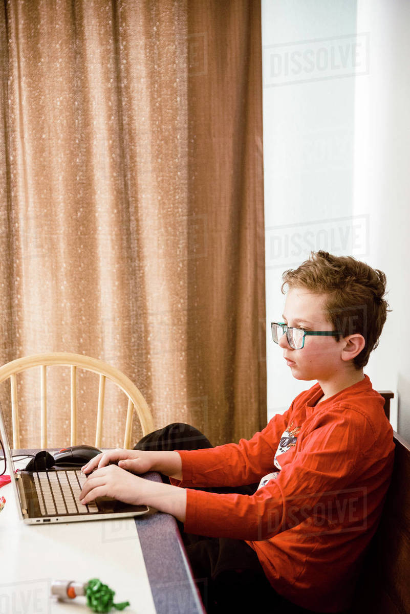 Profile shot of a boy working on a laptop studying at the table. Royalty-free stock photo
