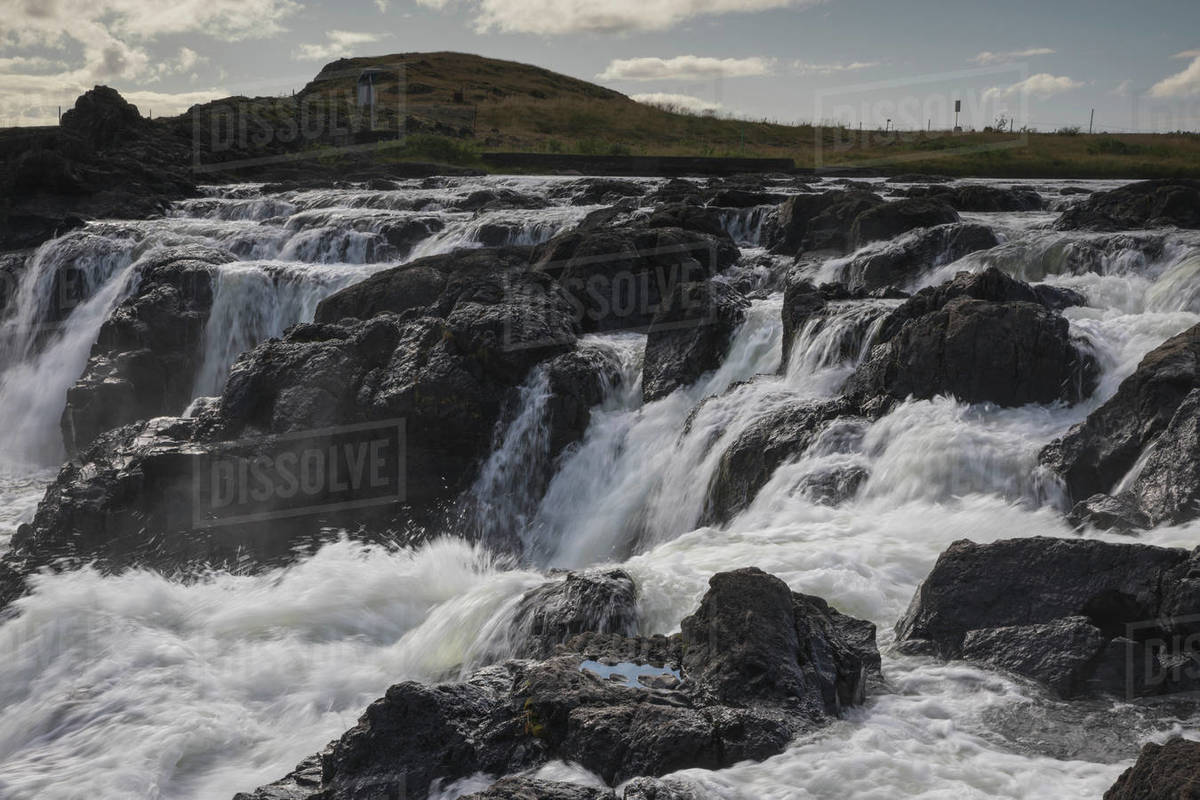 Pingvellir  national park in Iceland waterfalls Royalty-free stock photo