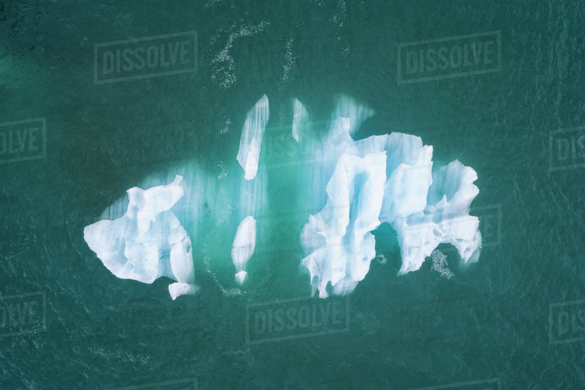 Iceberg  in Jokulsarlon from above in cenital view Royalty-free stock photo