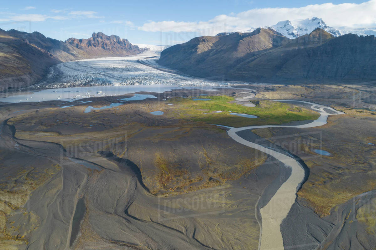 Aerial view of Vatnajokull Glacier Royalty-free stock photo