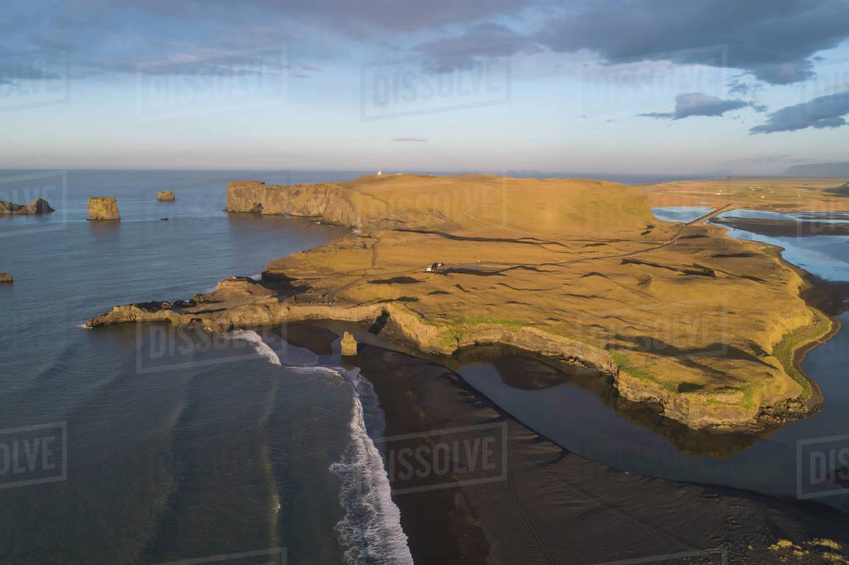 Aerial view of Reynisfjara beach Royalty-free stock photo