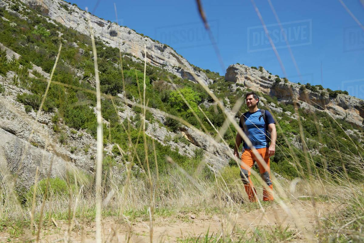 Hiking in Mascun Ravine in Guara Mountains. Royalty-free stock photo