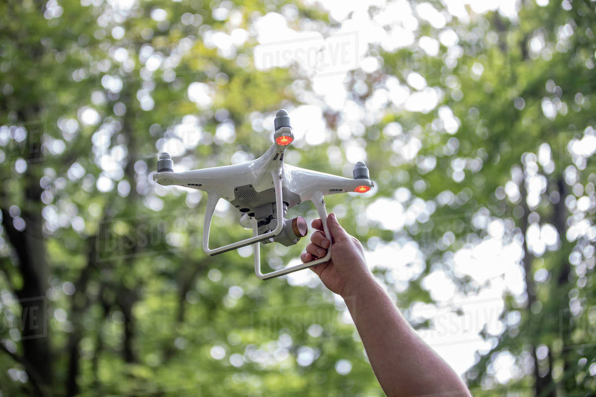 The man catching the landing drone in hand, trees in background Royalty-free stock photo