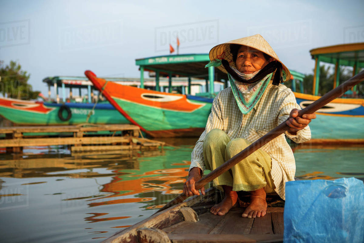 Boat Guide in Hoi An, Vietnam Royalty-free stock photo