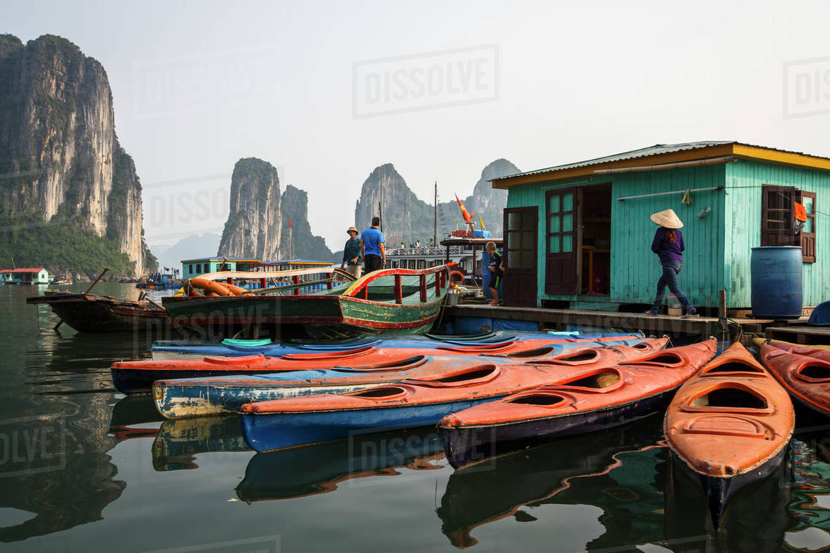 Kayaks Sit Available for Tourist Rental in Halong Bay, Vietnam Royalty-free stock photo