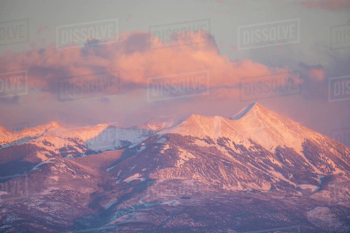 Landscape view of mountains at sunset. Royalty-free stock photo