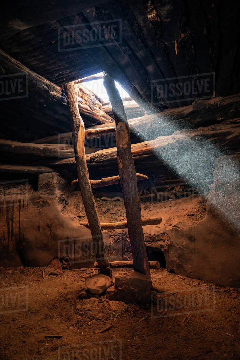 Ladder in native American Kiva structure. Royalty-free stock photo