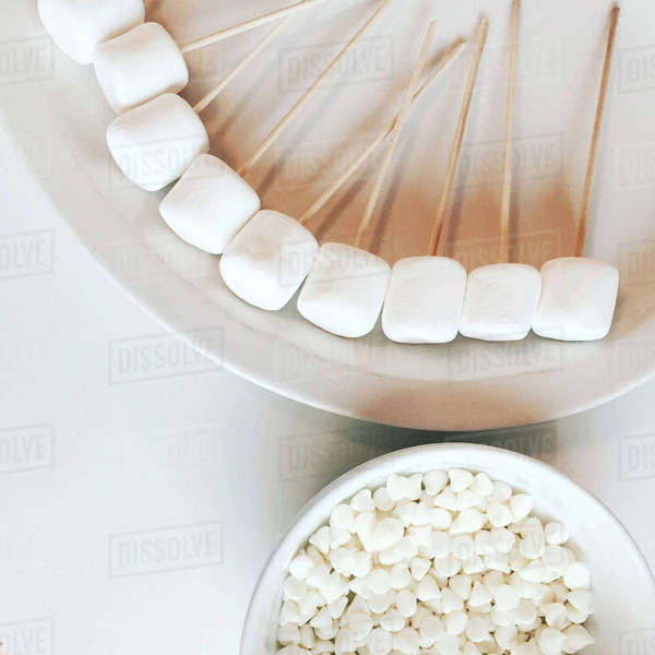 High angle view of marshmallows on table Royalty-free stock photo