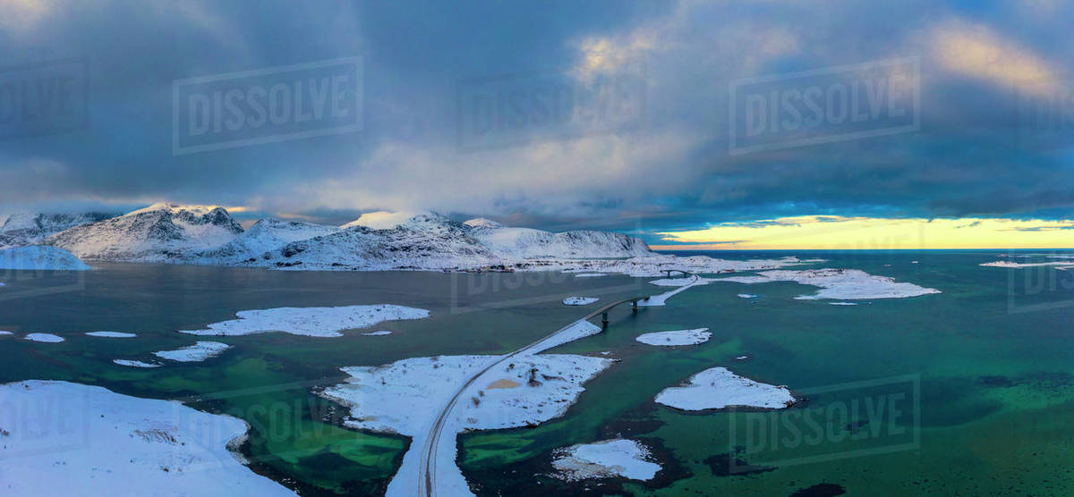 Aerial panoramic of Fredvang at sunset, Flakstad, Norway Royalty-free stock photo