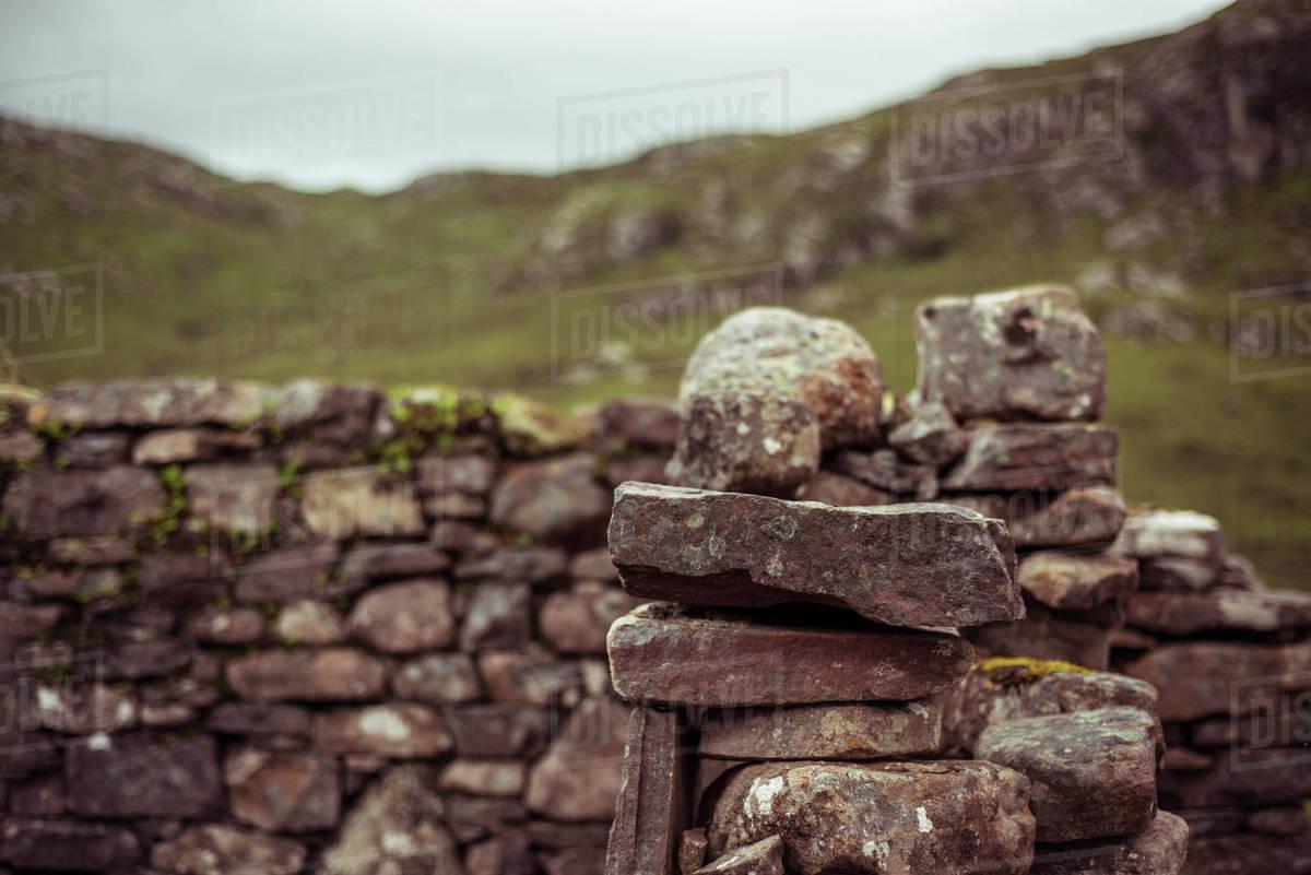 Stone ruins village in scottish highlands Royalty-free stock photo