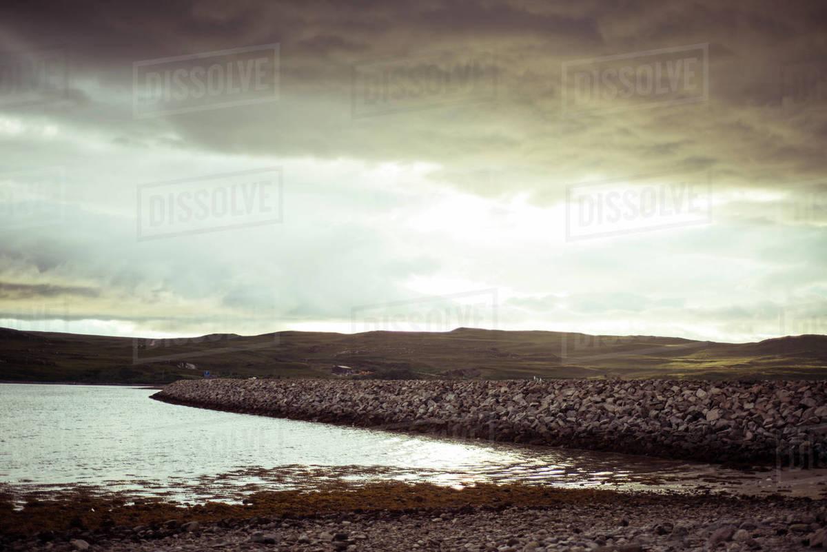 Dramatic sunset over remote lake Royalty-free stock photo