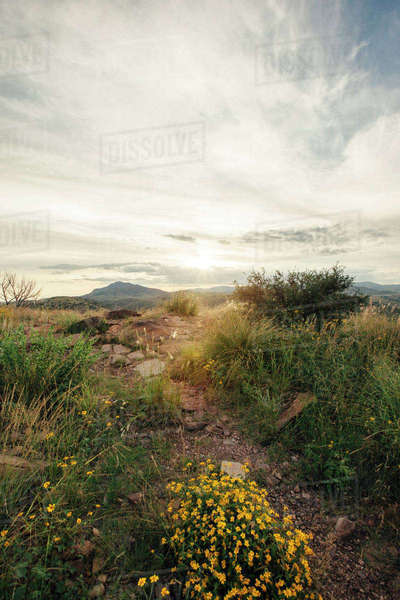 Scenic view of mountains against cloudy sky Royalty-free stock photo