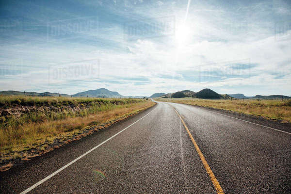 View of road against cloudy sky at Davis Mountains State Park Royalty-free stock photo