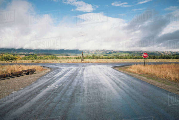 View of road against landscape at Grand Teton National Park Royalty-free stock photo