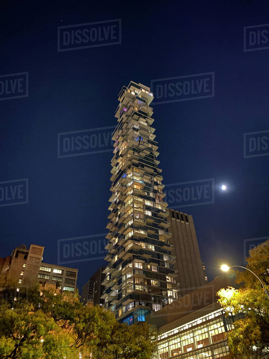 Night view of 56 Leonard St Building, designed by Architects Herzog and de Meuron, Tribeca, Manhattan, NYC Royalty-free stock photo