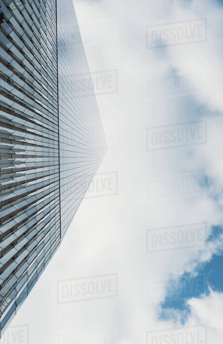 Close up of Freedom Tower (1 WTC) shot from ground looking up. Royalty-free stock photo