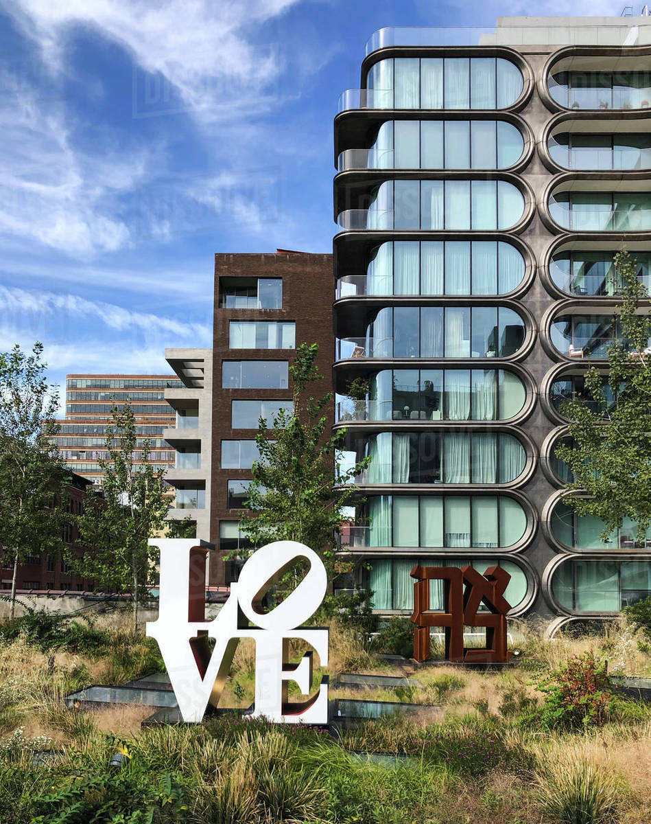 Modern building and Love sign in New York City, New York, USA. Royalty-free stock photo