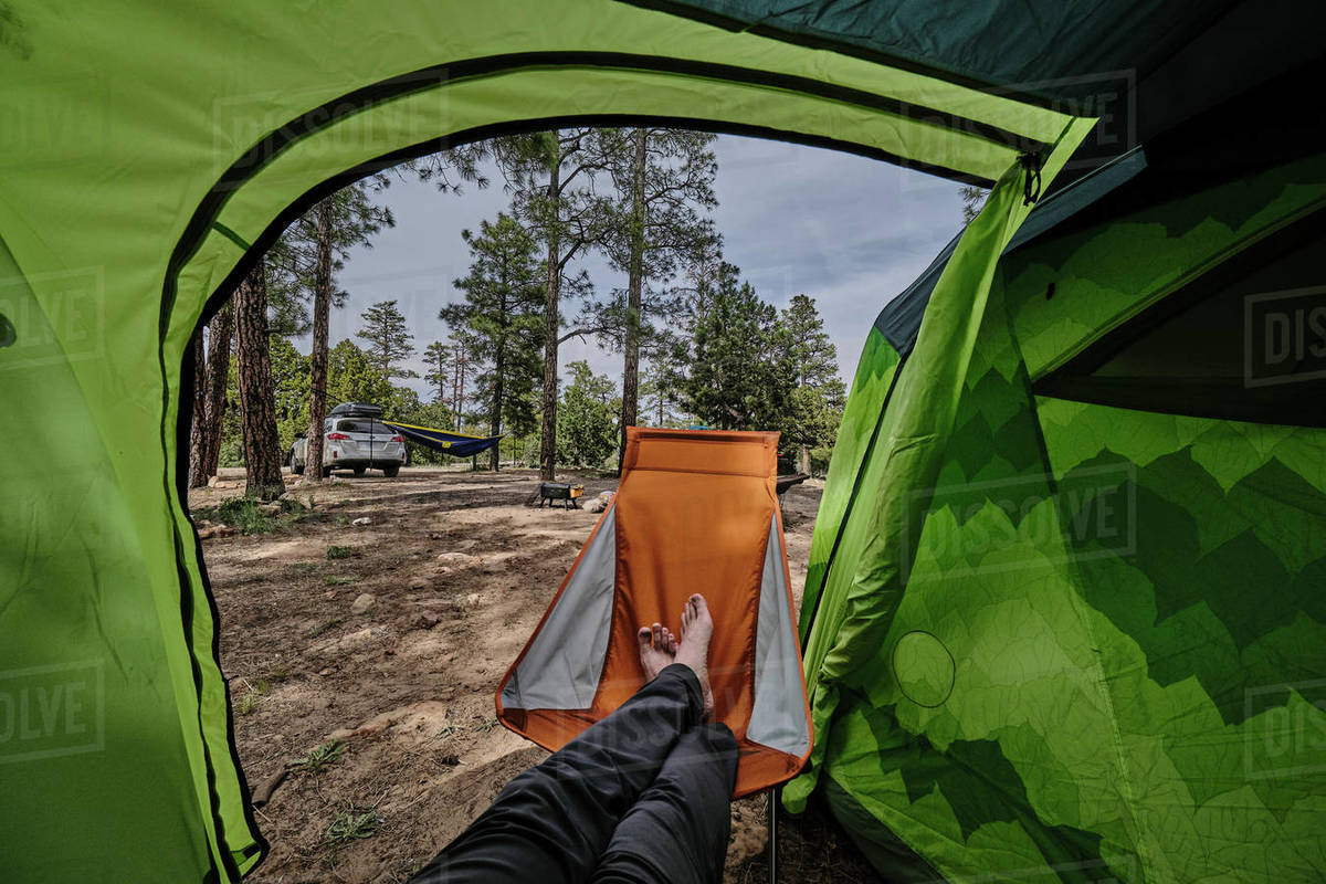 POV putting your feet up on a camp chair is relaxing, Mogollon Rim AZ. Royalty-free stock photo