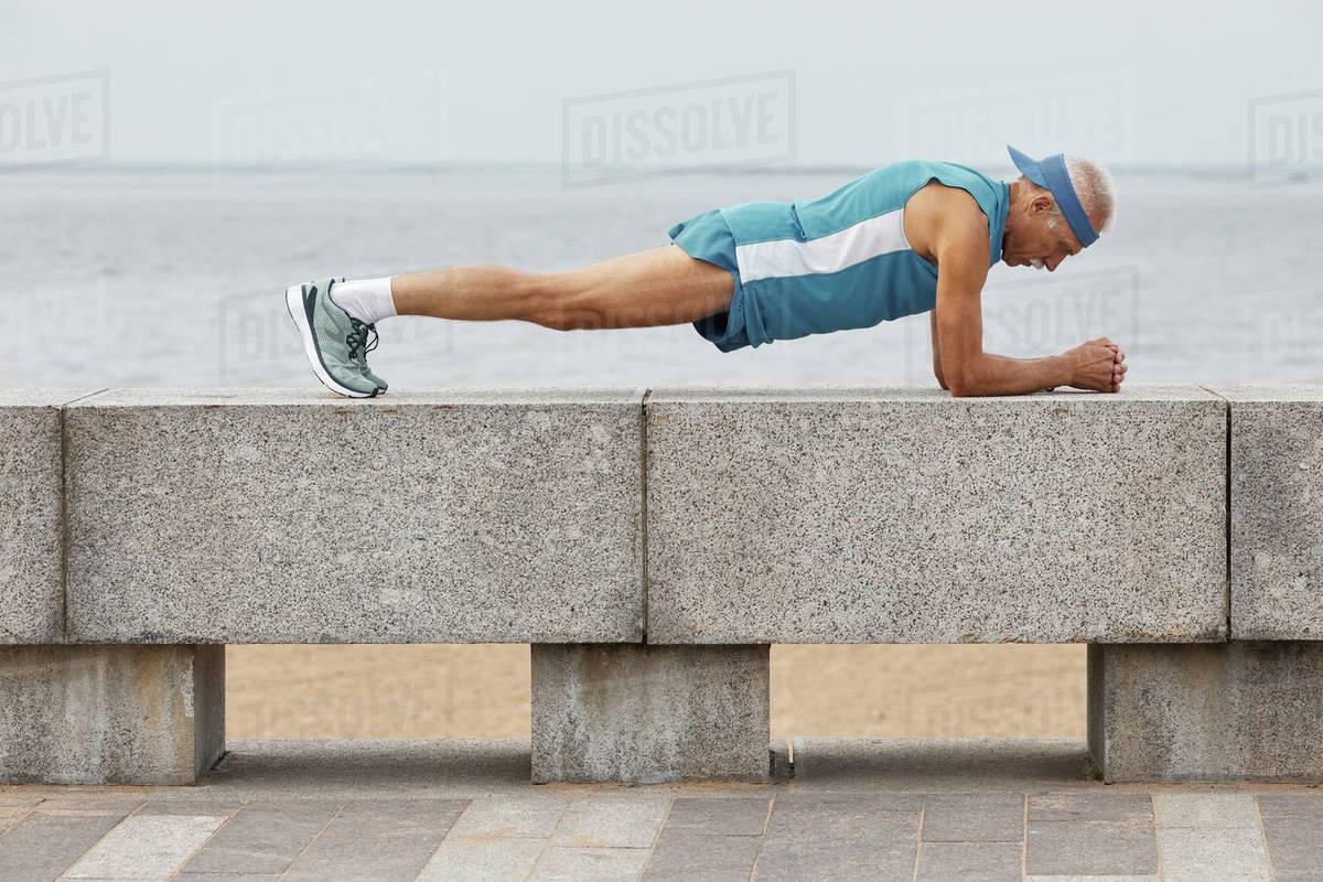 Senior Sportsman Doing Plank Exercise Royalty-free stock photo