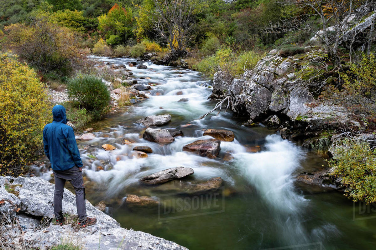 Curueño River with sedated water. Autumn of the Valdeteja Valley, León. Spain. Royalty-free stock photo
