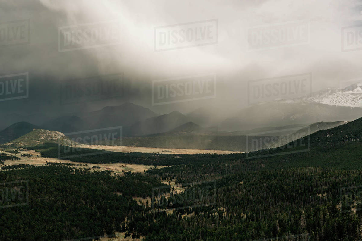 A storm moves over Rocky Mountain National Park, Colorado.. Royalty-free stock photo