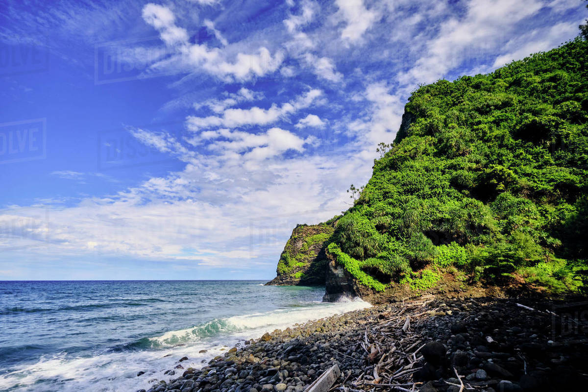 The view of the Pacific Ocean, from the Pololu coast of Hawaii Royalty-free stock photo