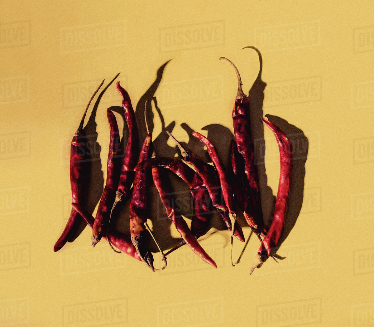 Dried Peppers on a Yellow Background Royalty-free stock photo
