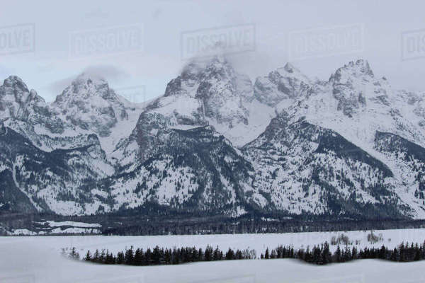 Scenic view of snowcapped mountains at Grand Teton National Park Royalty-free stock photo
