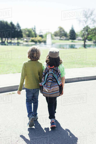 Rear view of brothers walking together on road towards park during summer Royalty-free stock photo