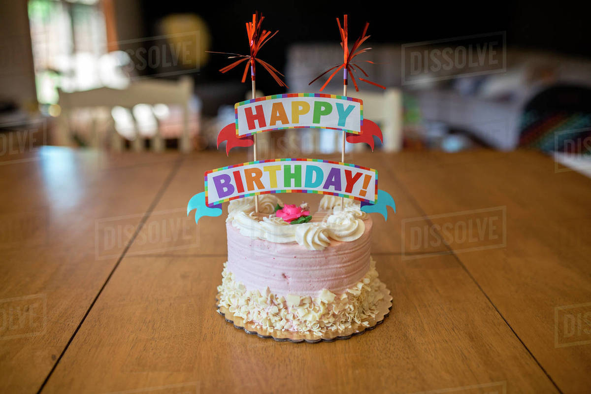 Birthday Cake On Table At Home Stock Photo Dissolve