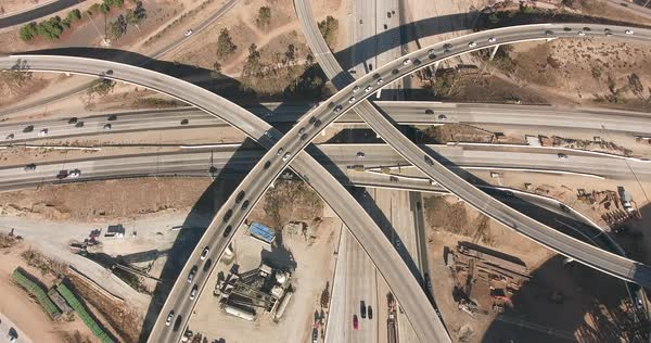 Aerial shot of a traffic junction during daytime Royalty-free stock video