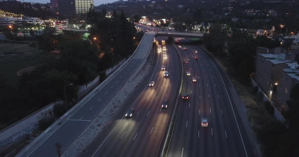 Drone shot of traffic on a highway in Los Angeles Royalty-free stock video